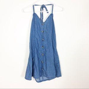 ASOS Chambray Denim Button Front Halter Dress
